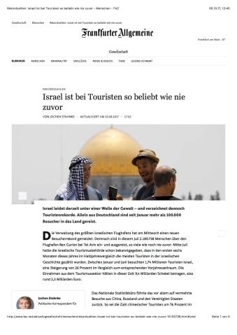 Rekordzahlen: Israel ist bei Touristen so beliebt wie nie zuvor - Menschen - FAZ